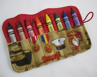 USMC Crayon Roll - Comes with 8 Large, Washable Crayola Crayons - US Marines - Licensed Hobbyist - Custom Order - Personalizable