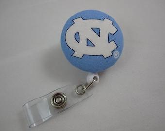 UNC Tar Heels Badge Reel - University of North Carolina - Security Badge Holder - Swivel Alligator Clip