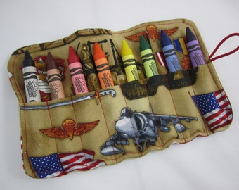 USMC Crayon Roll - Comes with 8 Large, Washable Crayola Crayons - US Marines - Licensed Hobbyist - Made to Order - Name Embroidery Available