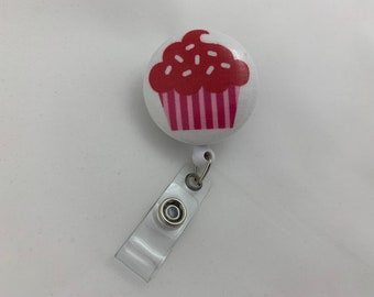 Wipeable Cupcake Badge Reel, Raspberry Cupcake, Birthday Gift for Work Colleague, Women's Cupcake Badge Reel with Swivel Clip, Ready to Ship
