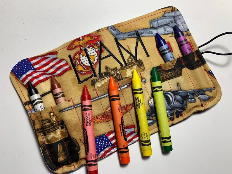 USMC Crayon Roll  Comes with 8 Large Washable Crayola Add Embroidery