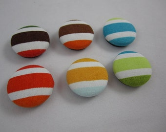 Bermuda Rainbow Magnets - Stripes - Cover Button Magnets - Set of Six (6) - Ready to Ship