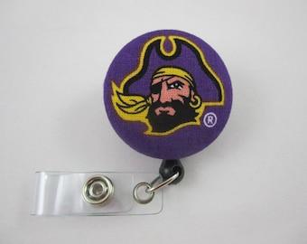 PeeDee ECU Badge Reel - East Carolina University - PeeDee the Pirate - ECU - Security Badge Holder - Swivel Alligator Clip
