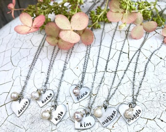 Custom Bridesmaid's Gift Necklace / Personalized Name Necklace in Pewter + Pearl