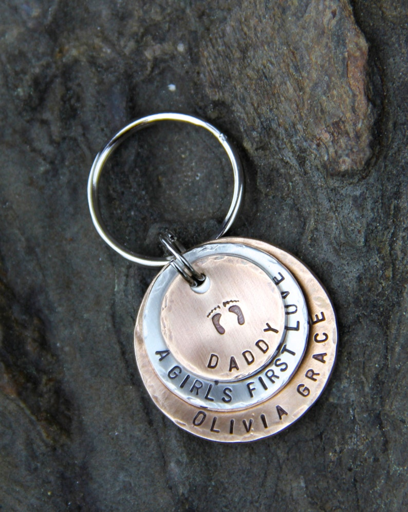 A Girl/'s First Love Keychain in Layered Bronze /& Nickel New Dad Gift Father/'s Day Gift Custom Keychain for Daddy