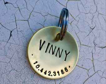 Custom Dog Tag / Custom Pet ID Tag - Lucy - in 1.25'' Domed Bronze, Aluminum, Copper or Brass