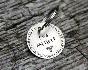 Custom Keychain - A Rustic Family-  Hand Stamped in 1.25'' Nickel Silver - Perfect for Anniversary, Wedding Gift, or New Baby