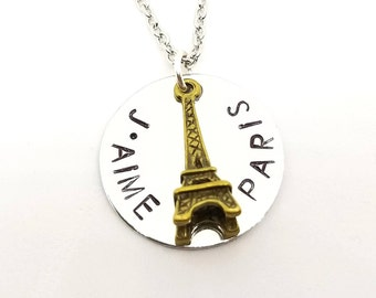 J'aime Paris Eiffel Tower Necklace | Silver Stamped Necklace | Paris France Necklace