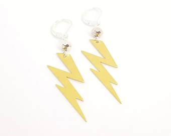 Lightning Bolt Earrings - Brass | Bowie Inspired Earrings | Rockstar Earrings | David Bowie
