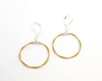 Guitar String Hoop Earrings - Copper | Recycled Jewelry | Upcycled Guitar String Jewelry