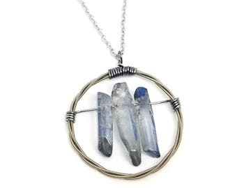Silver Guitar String and Blue Quartz Crystal Pendant Necklace | Recycled Guitar Strings | Crystal Necklace
