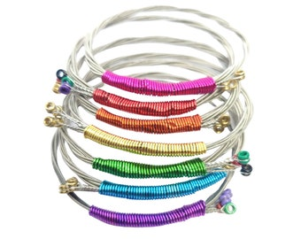 Stainless Steel Bracelets Set Guitar Strings Bracelets and Rosary Bracelet Stackable Spring Bracelets Stainless Steel Bracelets