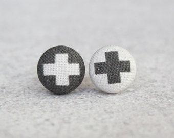 Swiss Cross Fabric Button Earrings