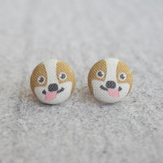 Westie Fabric Button Earrings