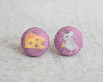Mouse and Cheese Fabric Button Earrings