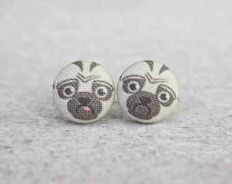 Pug Fabric Button Earrings
