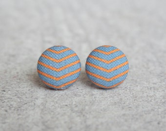 Orange and Purple Chevrons Fabric Button Earrings