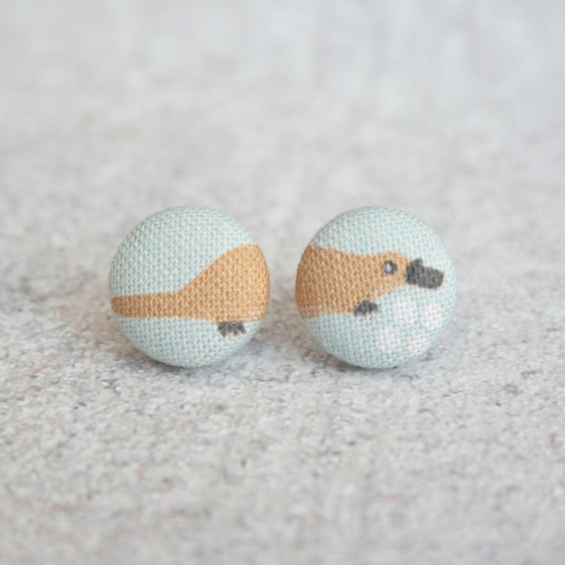 Platypus Fabric Button Earrings image 1