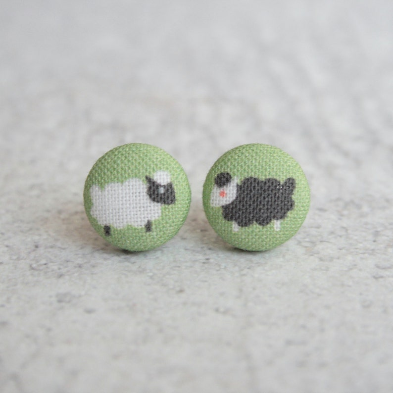 Two Sheep Fabric Button Earrings image 0