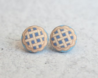 Blueberry Pie Fabric Button Earrings
