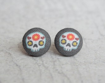 Sugar Skull Fabric Covered Button Earrings