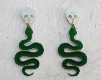 Skull and Snake Dangle Earrings Laser Cut Translucent Green and White Swirl Acrylic