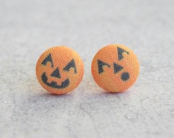 Jack O Lanterns Fabric Button Earrings