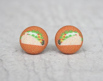 Taco Fabric Button Earrings