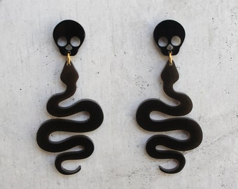 Skull and Snake Dangle Earrings Laser Cut Translucent Smoke and Black Acrylic