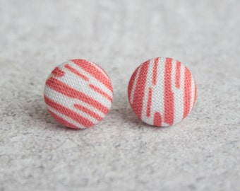 Bacon Fabric Button Earrings