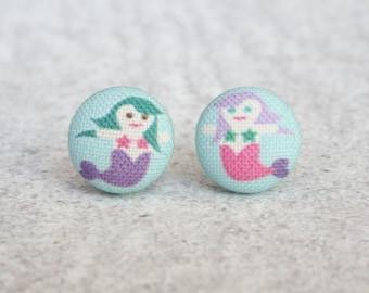 Mermaid Fabric Button Earrings