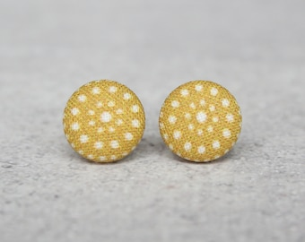 Mustard Dots Fabric Button Earrings