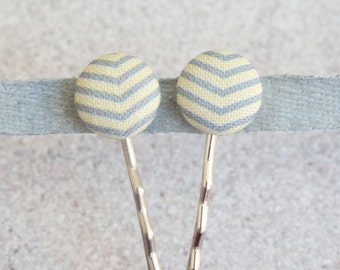 Yellow and Gray Chevron Fabric Covered Button Bobby Pin Pair