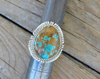 ON SALE Men/'s turquoise ring handmade in sterling silver 925 with Pilot Mountain turquoise