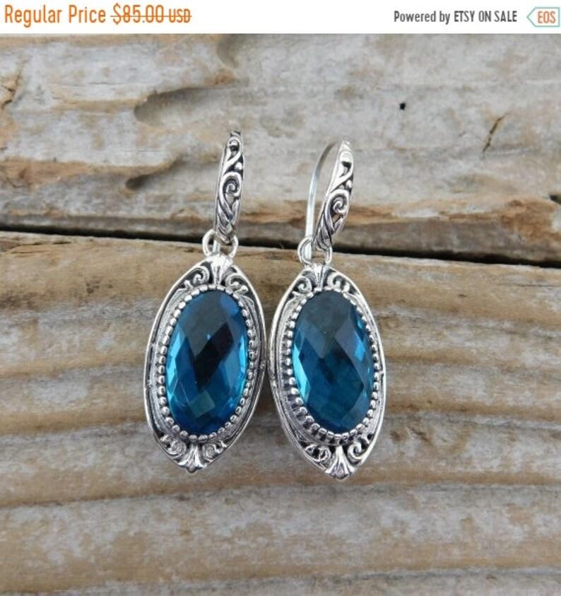 ON SALE London blue topaz earrings handmade in sterling silver image 0