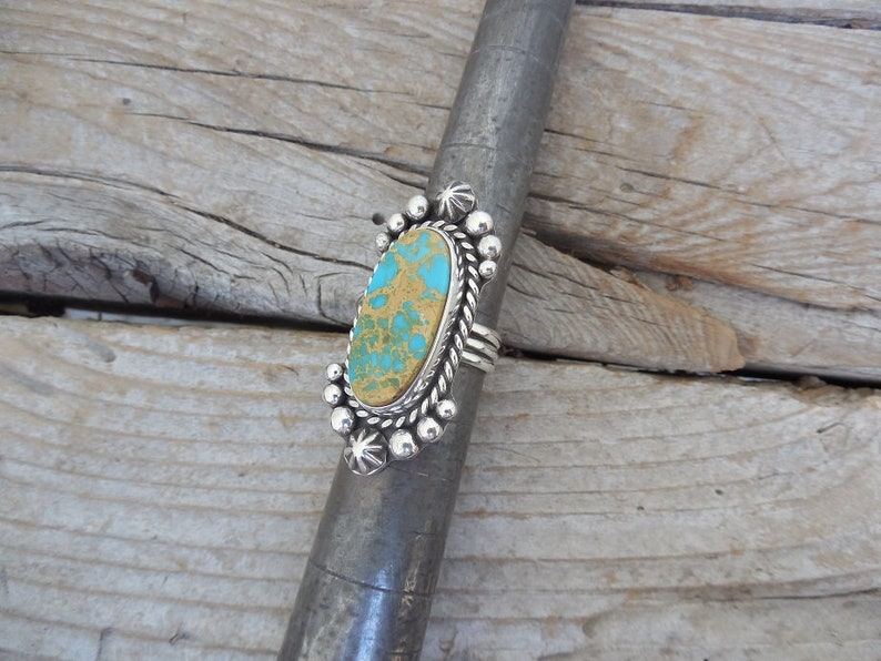ON SALE Turquoise ring handmade in sterling silver 925 with a gorgeous turquoise stone from the Royston mine