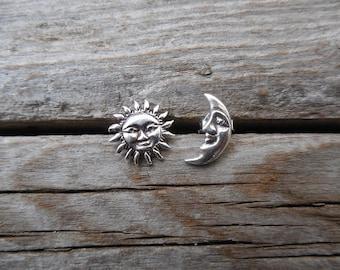 Sun and moon stud earrings handmade in sterling silver