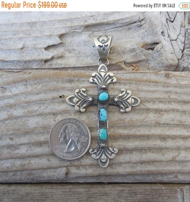 ec90a89ff ON SALE Turquoise cross handmade 925 in sterling silver by | Etsy