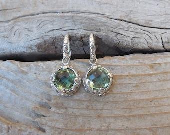 Green amethyst earrings handmade in sterling silver 925 with beautiful green amethyst stones