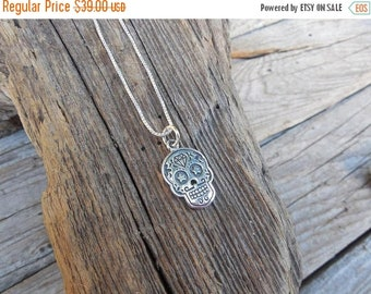 ON SALE Day of the dead skull necklace handmade in sterling silver
