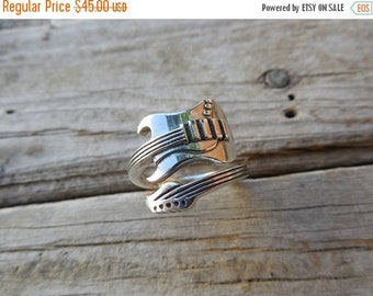 ON SALE Guitar ring in sterling silver 925