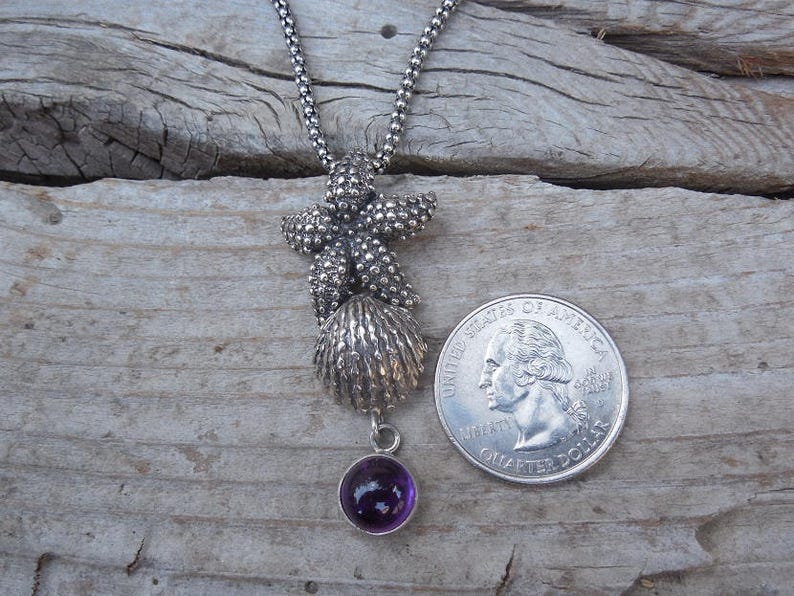ON SALE Beautiful starfish amethyst necklace handmade in sterling silver