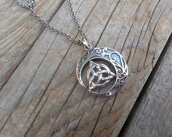 ON SALE Celtic moon necklace with a triquetra in the center handmade in sterling silver 925