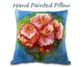 Hollyhock Pillow, Hand Painted, Country Farmhouse Decor, Silk Art Painting