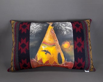 Hand Painted Southwestern Pillow, Raven Tipi Pillow on Satin, Teepee Pillow, Ranch Home Decor, Western Pillow Decor, Southwest Decor