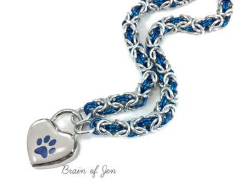 Submissive Day Collar Silver & Cobalt Blue Paw Print Heart Lock Padlock Necklace Puppy Kitten Slave Collar