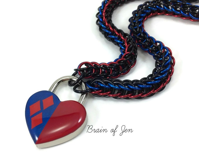 Women's Slave Collar Harley Quinn Inspired Red and Blue Heart Lock