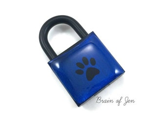 Black and Blue Paw Print Padlock