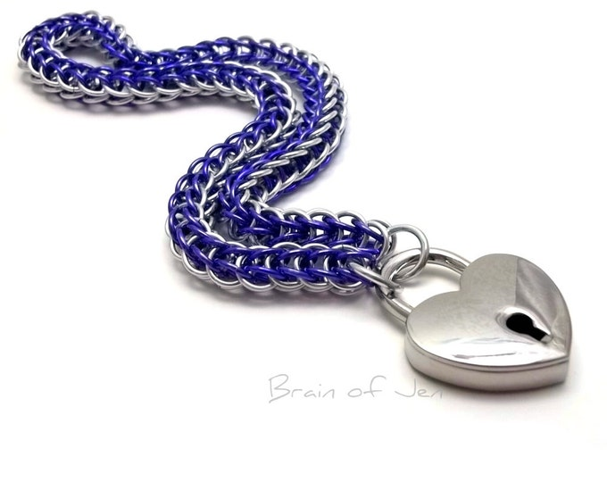 BDSM Slave Collar Violet Purple  & Silver Submissive Day Collar with Heart Padlock