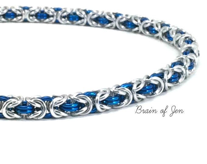 Silver and Blue Byzantine Chain RESERVED